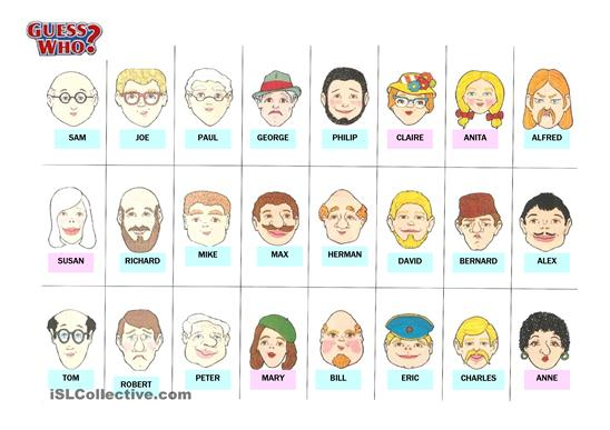 Guess Who Cards Printable 14 Best Photos Of Guess Who Printable