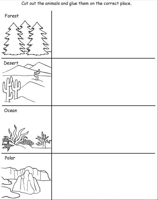 Habitats Of Animals For Kids Worksheet