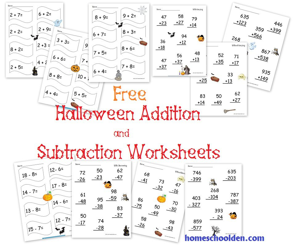 Halloween Math Worksheets Addition Subtraction 459976