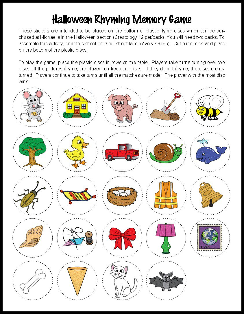 Halloween Rhyming Worksheets For Kindergarten 1445471