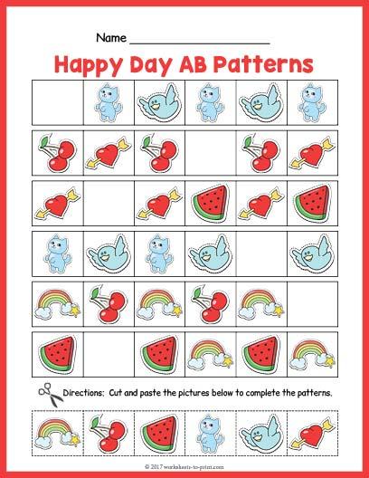 Happy Day Ab Pattern Worksheet