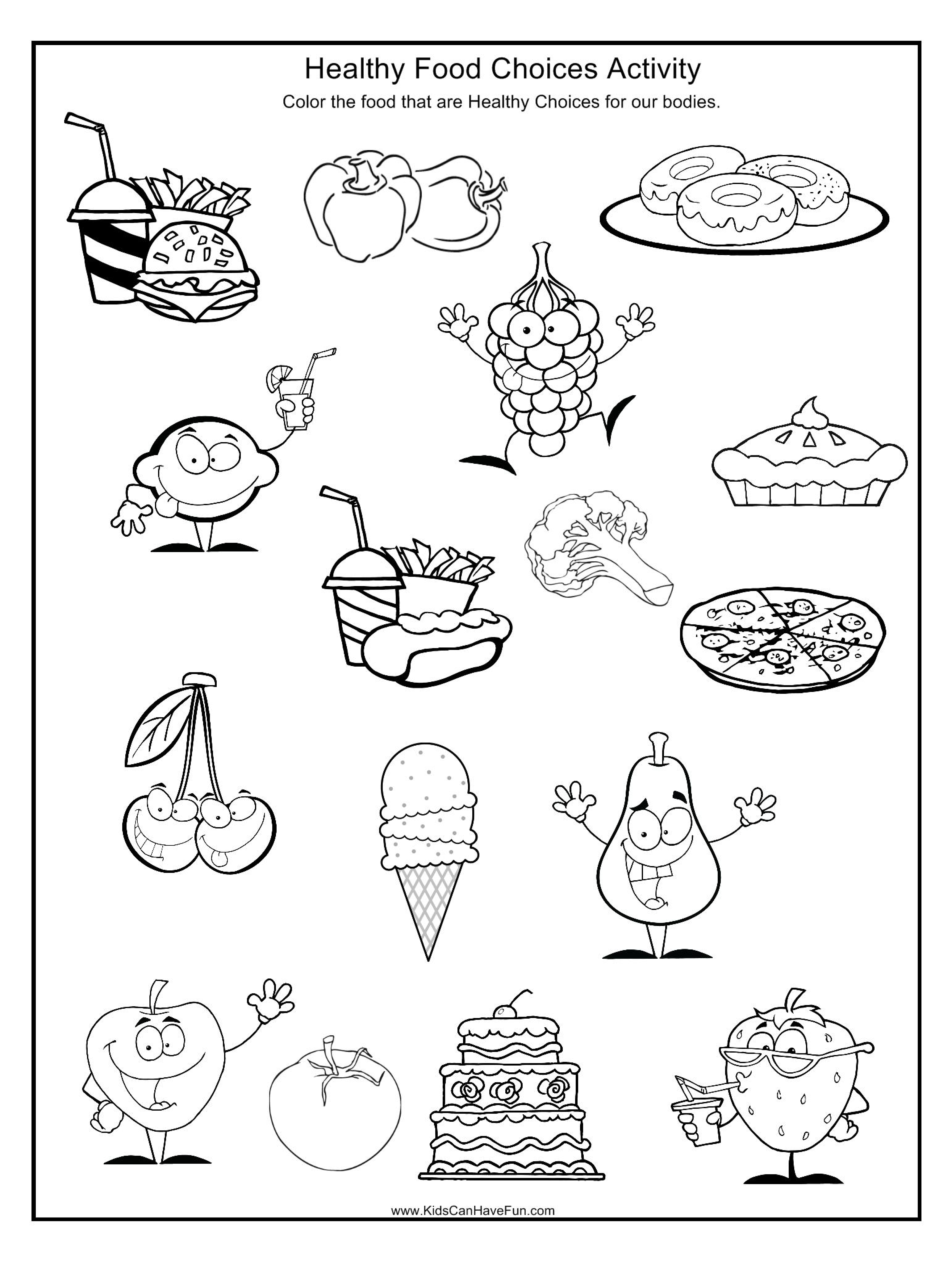 Healthy And Unhealthy Food Worksheet For Preschool 241355