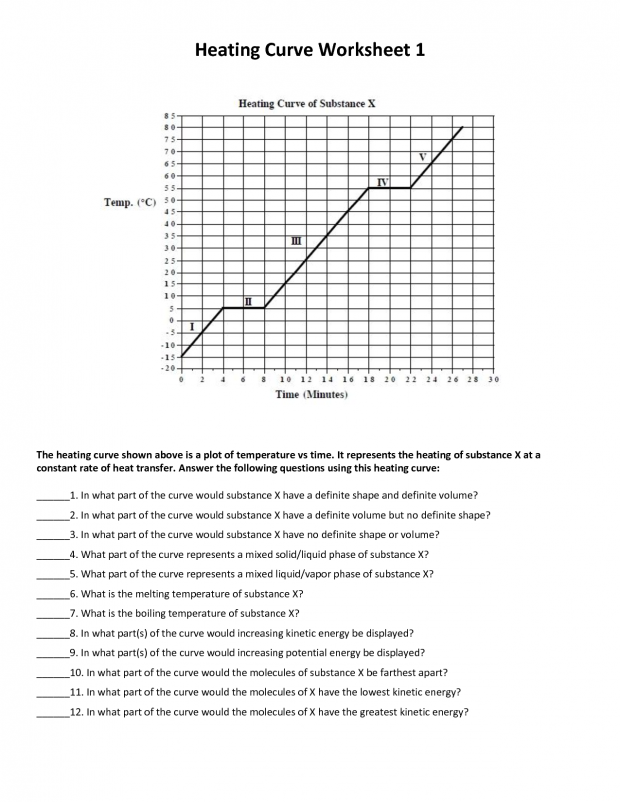 Heating Curve Worksheet Heating Curve Worksheet Answers Allowed