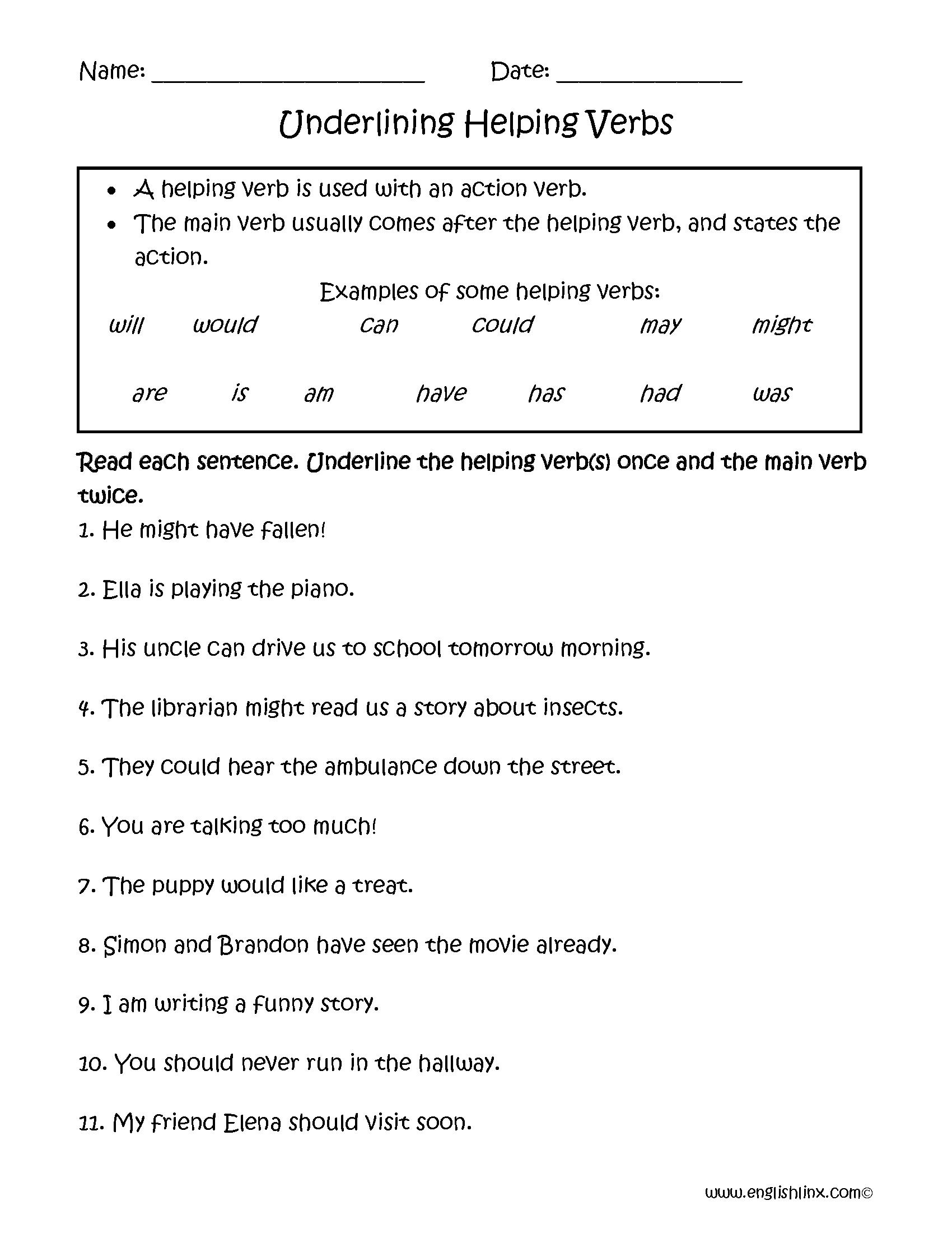 Helping Verbs Worksheet 3rd Grade 294479