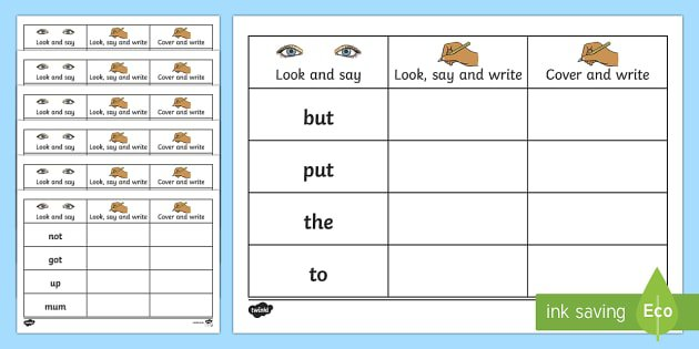 High Frequency Words Writing Practice Worksheets
