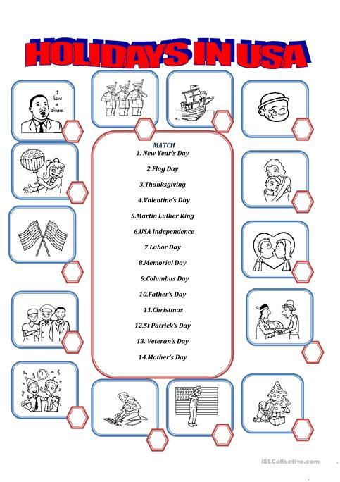 Holidays In Usa Worksheet