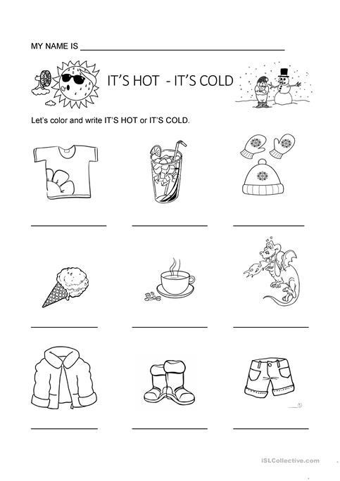 Hot Or Cold Worksheet