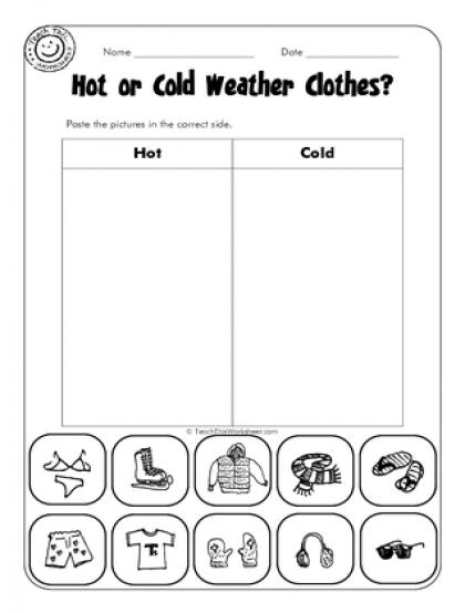 Hot Or Cold Worksheets For Preschool 361546