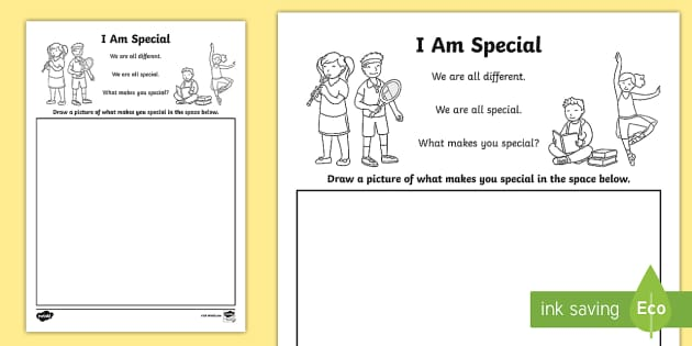 I Am Special Worksheet   Activity Sheet