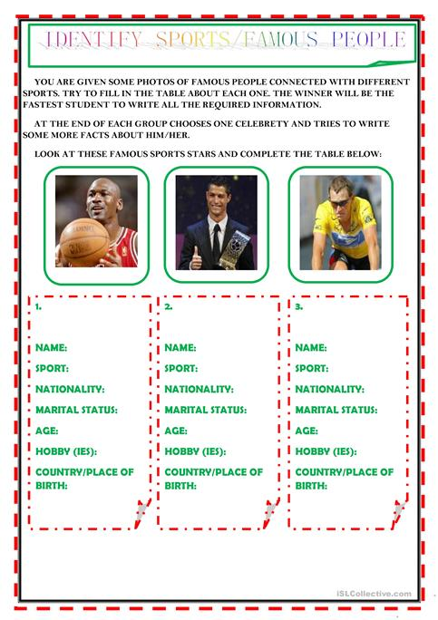 Identify Sports   Famous People Worksheet