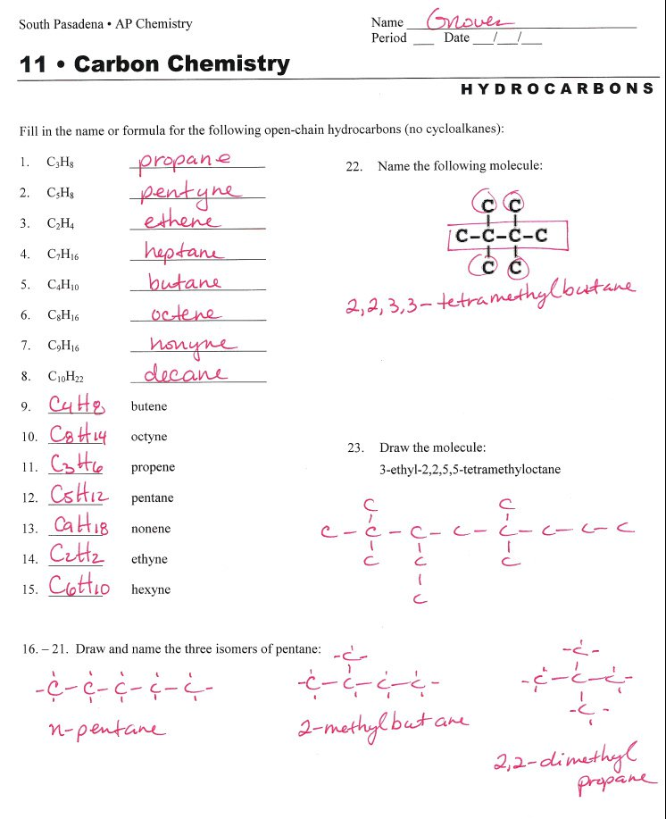 Carbon Compounds Worksheets Answers