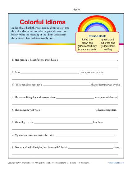 Idioms For Kids Worksheets Printables The Best Worksheets Image