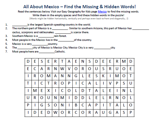 Image Of Mexico Worksheet