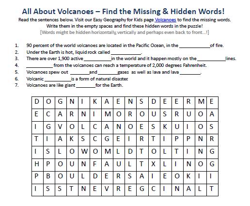 Image Of Volcanoes Worksheet
