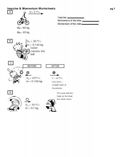 Impulse & Momentum Worksheets