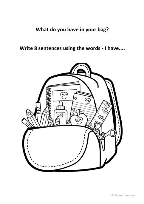 In My Backpack I Have   Worksheet