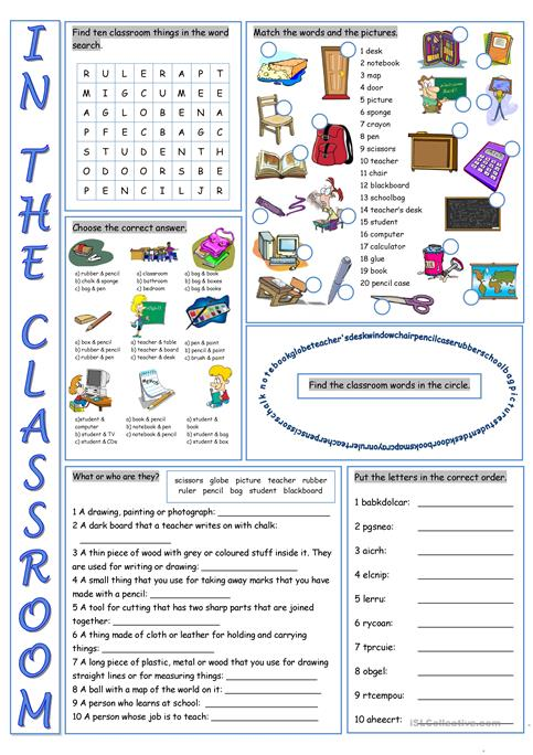 In The Classroom Vocabulary Exercises Worksheet