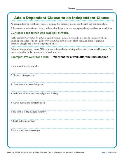 Independent And Dependent Clauses Worksheet Add A Dependent Clause