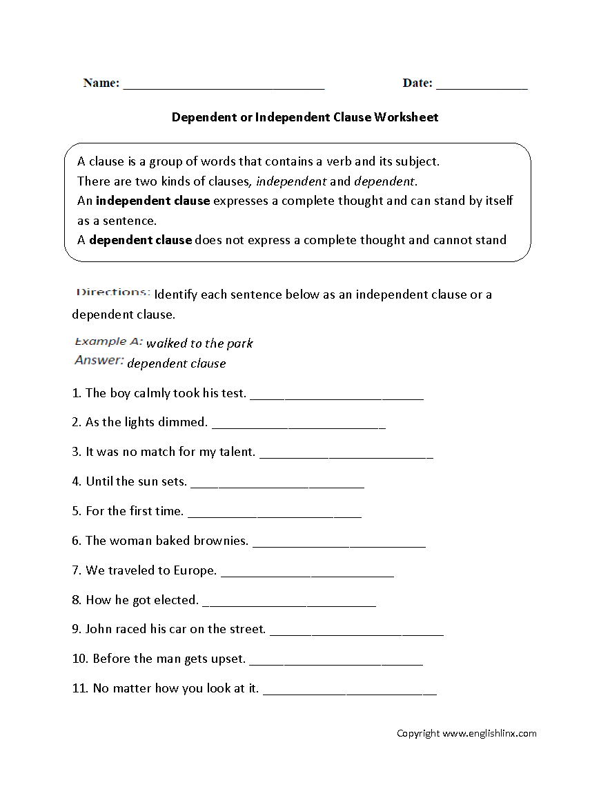 Independent Clause And Dependent Clause Worksheet The Best