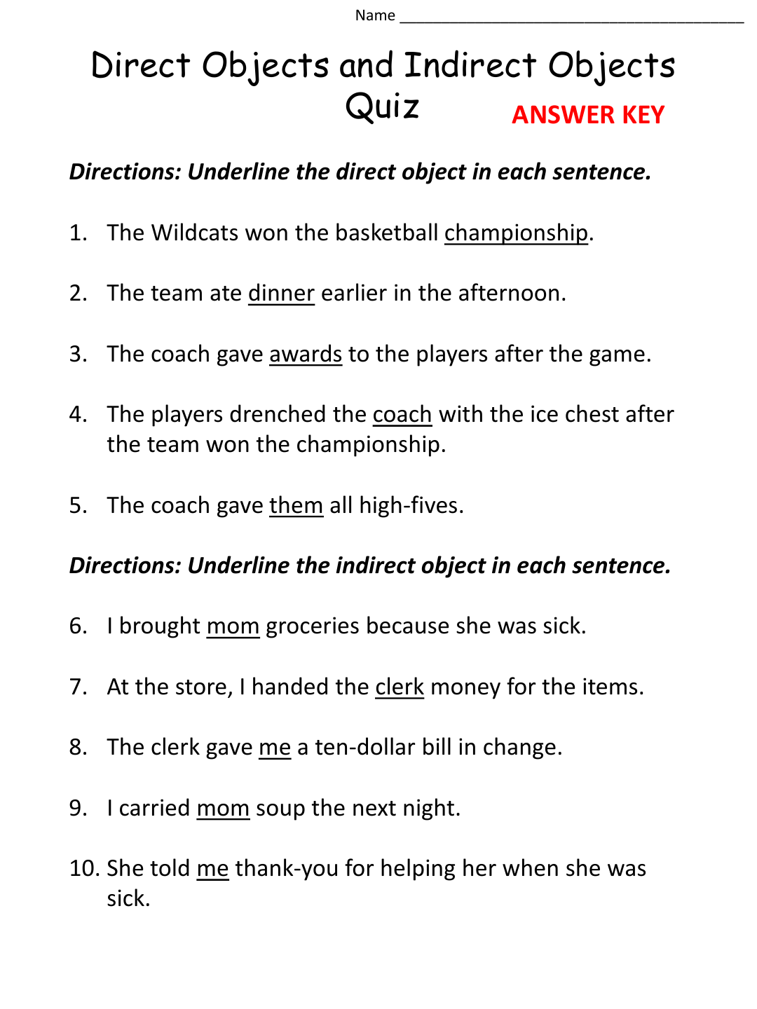 Indirect Object Worksheets The Best Worksheets Image Collection
