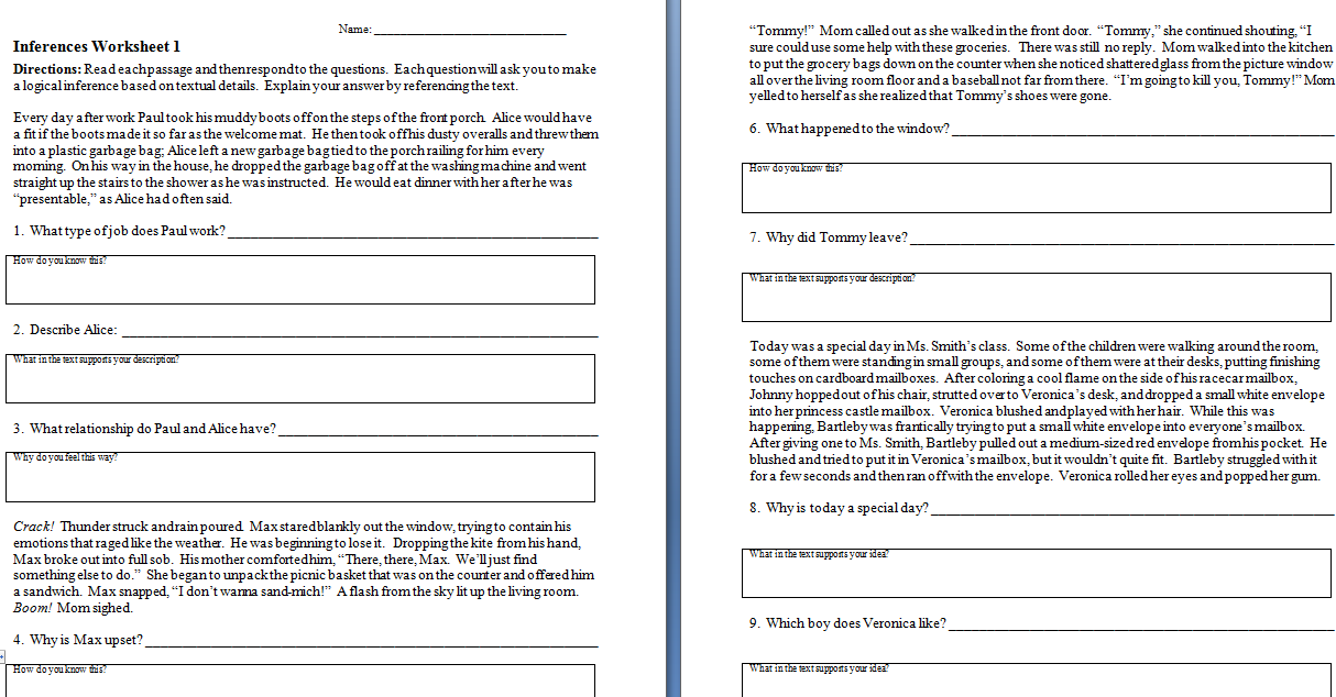 Inference Worksheet Year 3 1034054