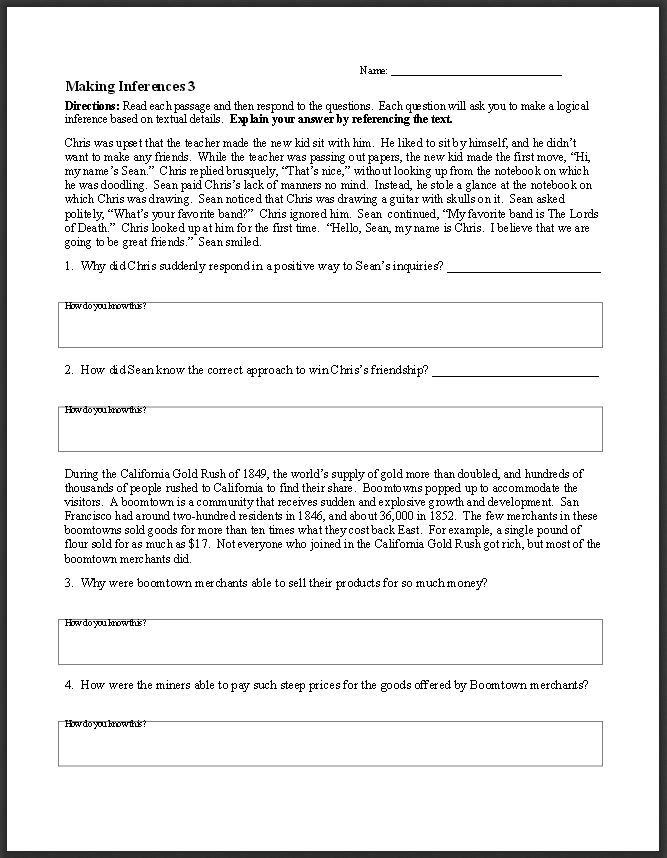 Inferencing Worksheets High School The Best Worksheets Image