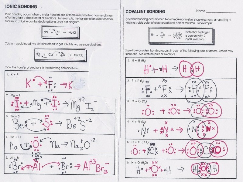 Ionic Bonding Worksheet Answers Webmart Me