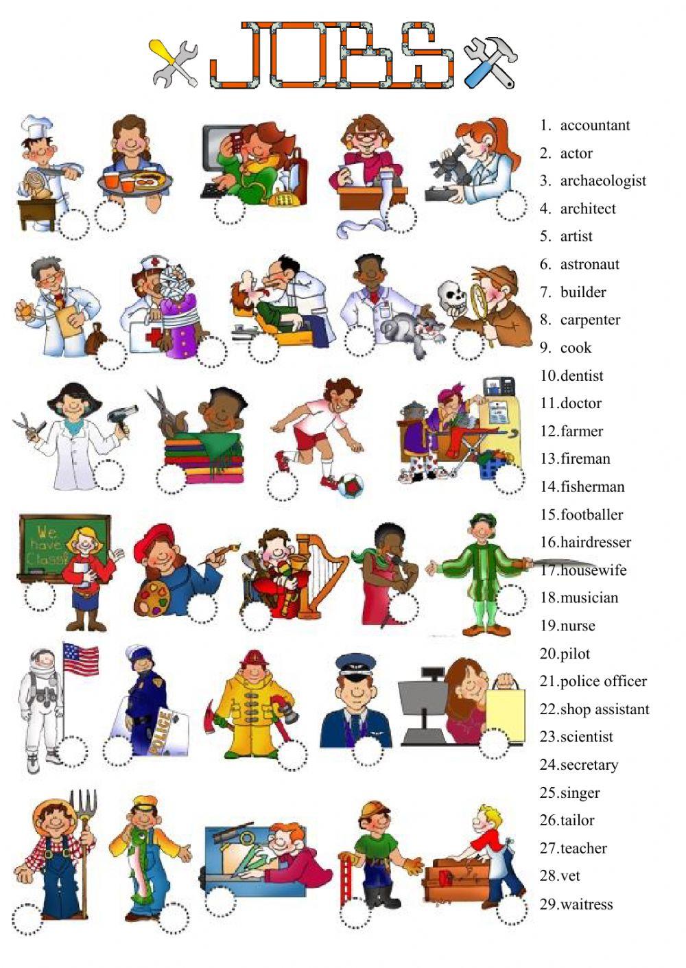 Jobs Worksheet For Beginners 725773