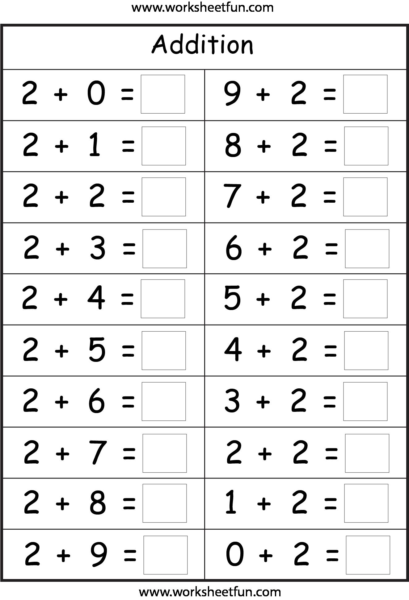 Kindergarten Addition Math Worksheets Free 326090