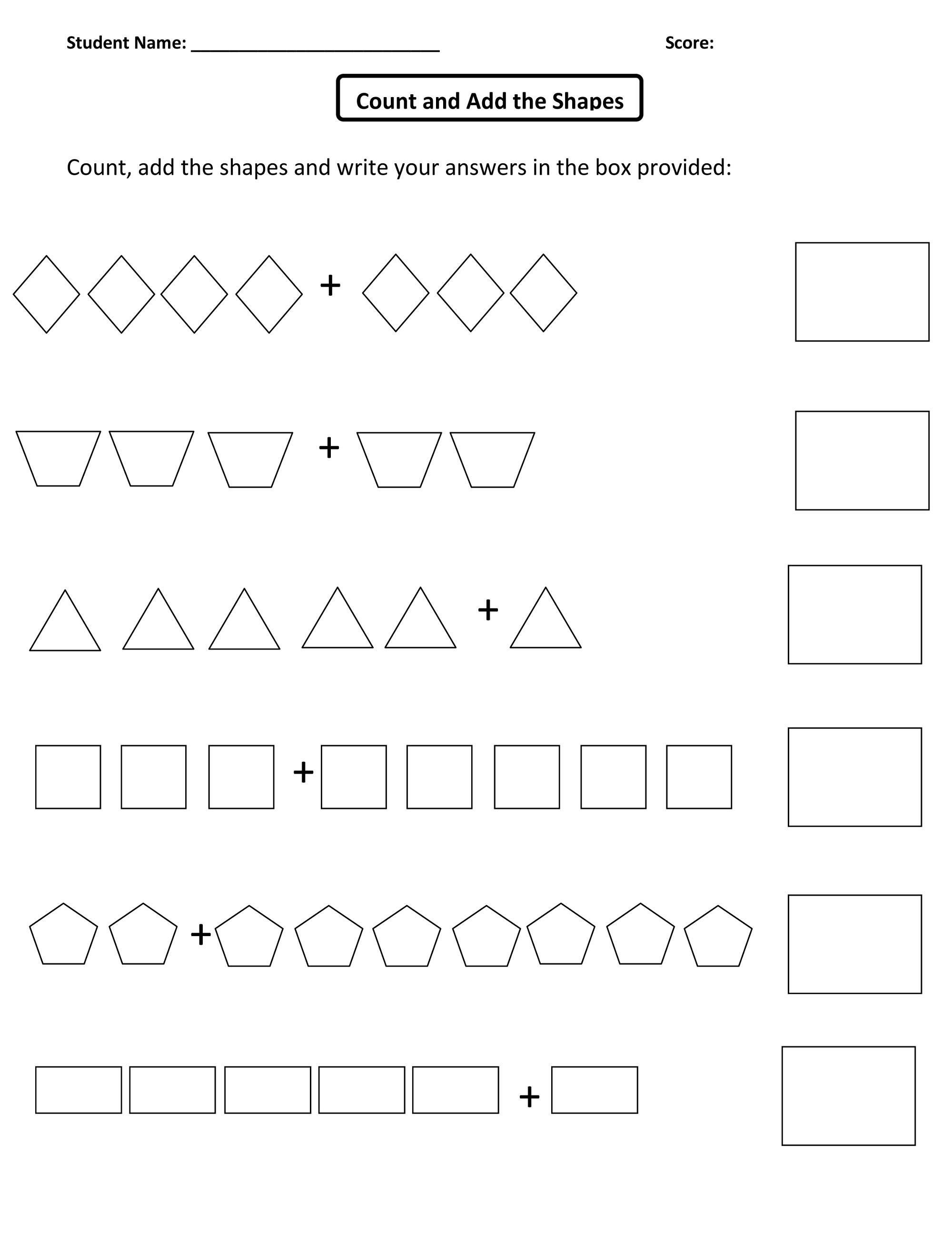 Kindergarten Counting Shapes Worksheets 692107