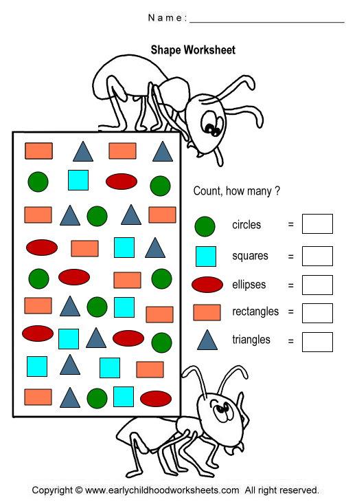 Kindergarten Counting Shapes Worksheets 692112
