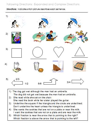 Kindergarten Following Directions Printable Worksheets 232880