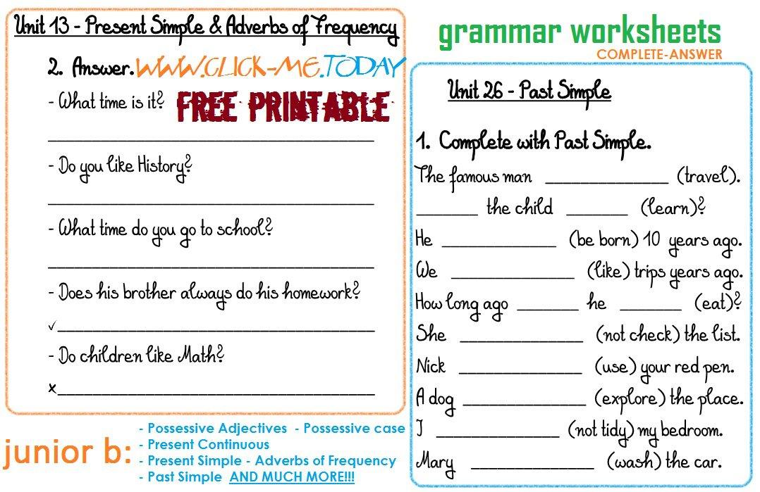 Kindergarten Grammar Printable Worksheets 312704
