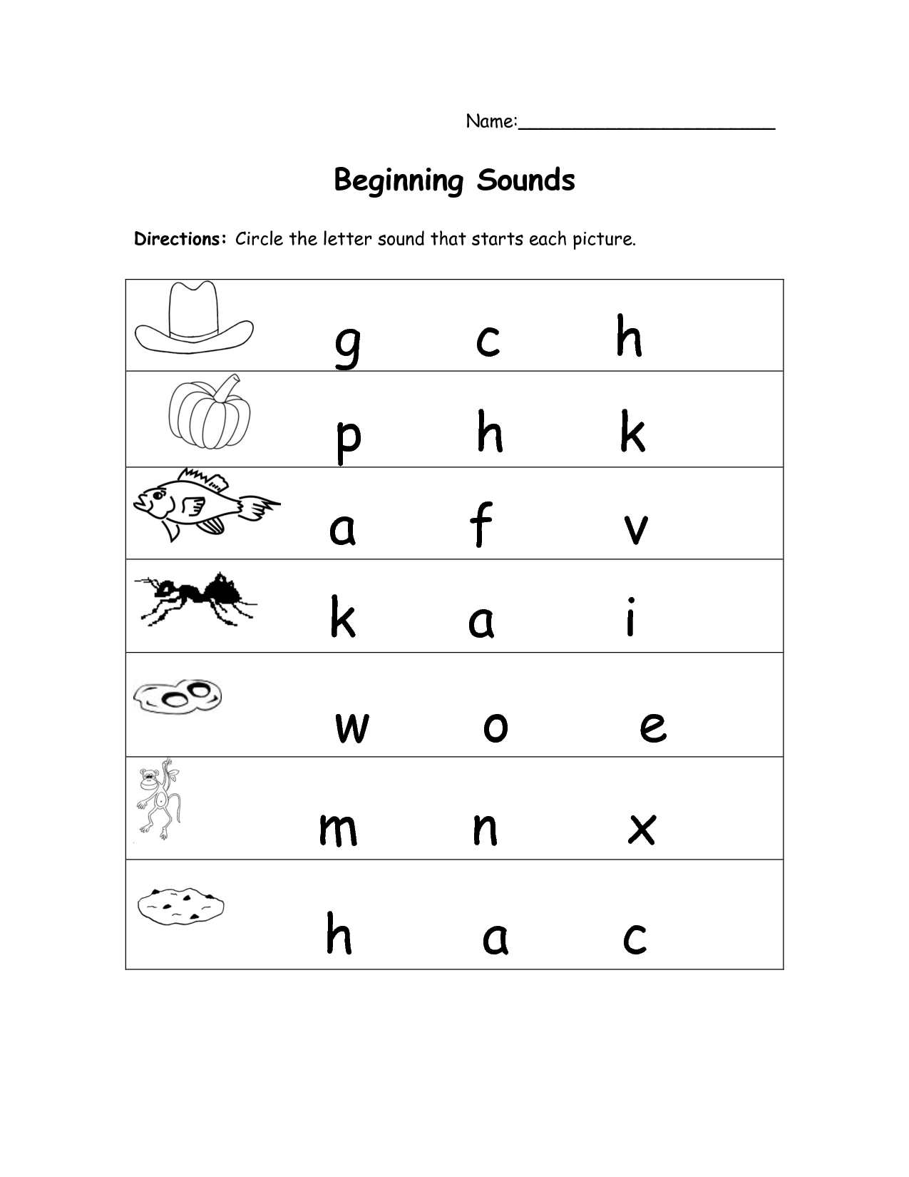 Kindergarten Letter Sound Worksheets Free 322355