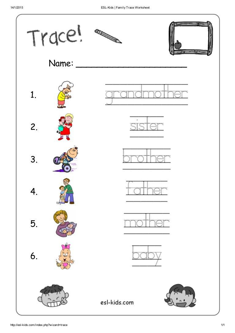 Kindergarten Worksheets About Family 723513
