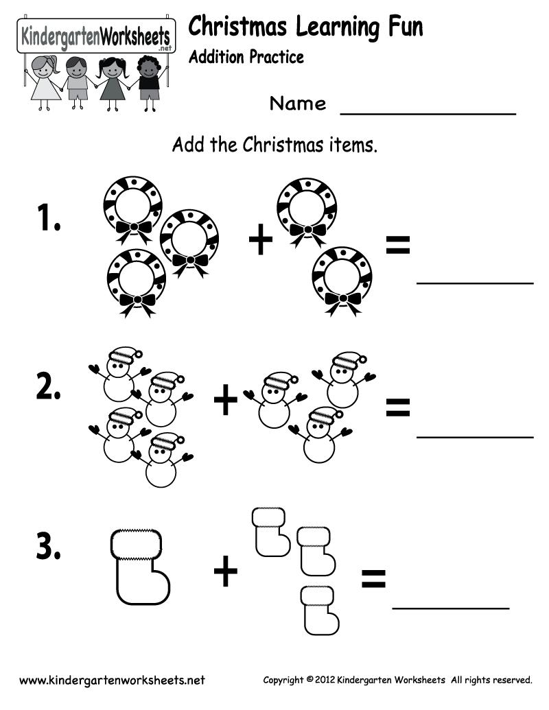 Kindergarten Worksheets For Christmas 522223