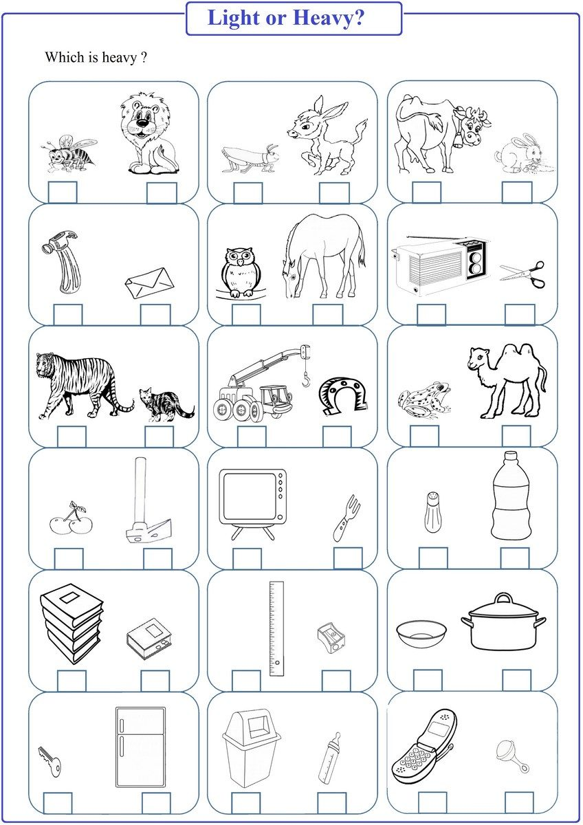 Kindergarten Worksheets Heavy Light Objects 739290