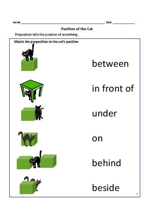 Kindergarten Worksheets On Prepositions 38019