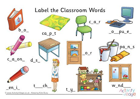 Label The Classroom Words