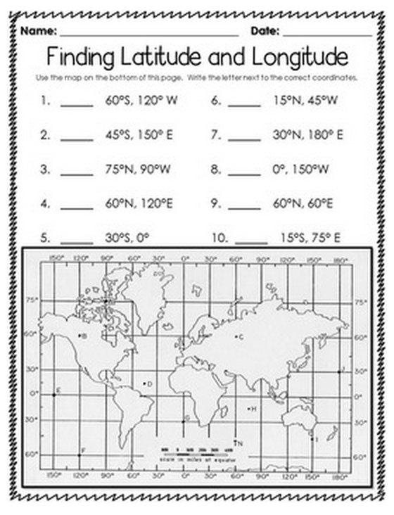 Latitude And Longitude Worksheets 7th Grade