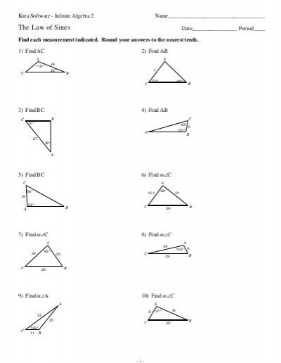 Law Of Sines Worksheet Law Of Sines Worksheet Aat Name Law Of