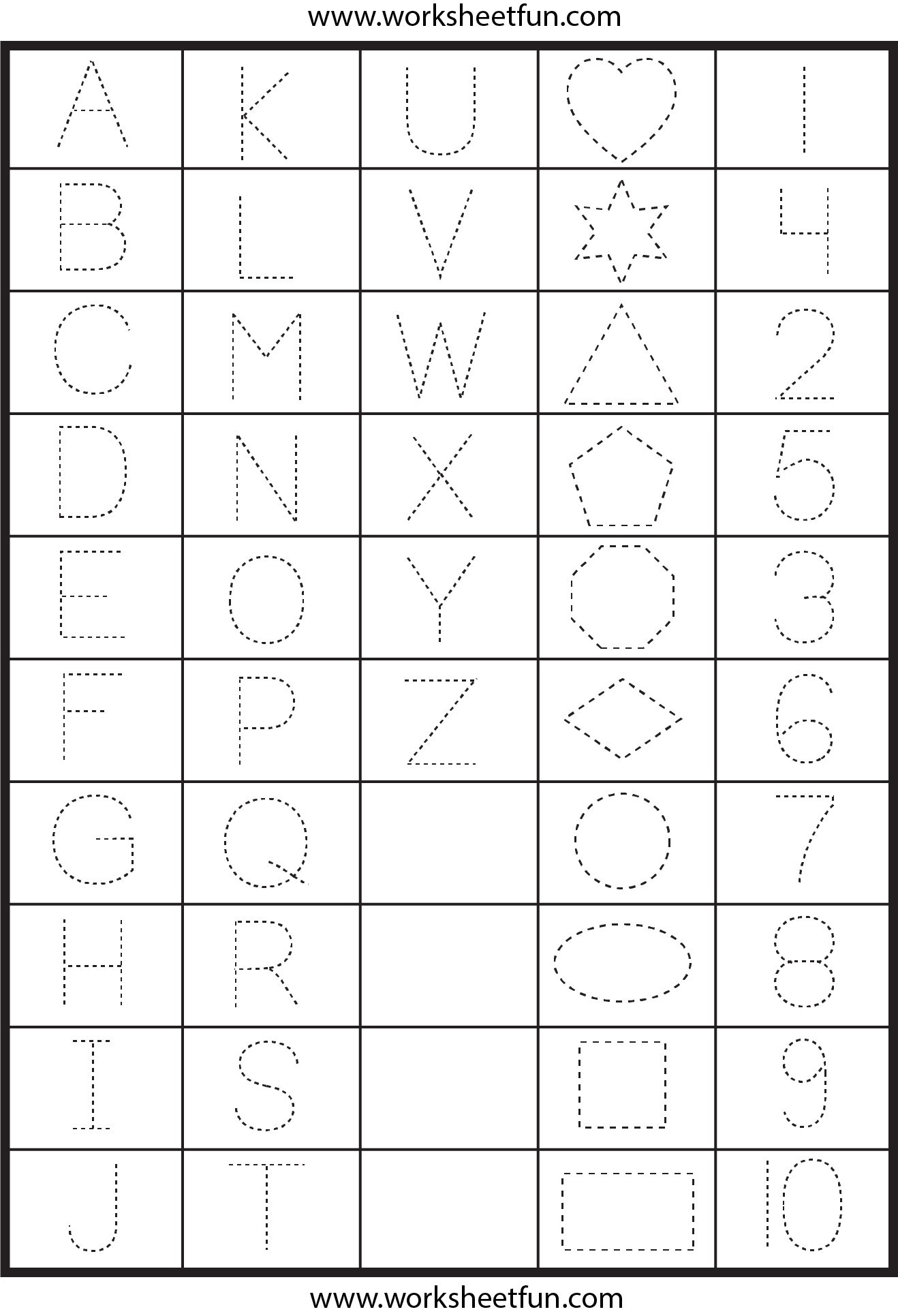 Letter And Number Worksheets For Kindergarten 117868