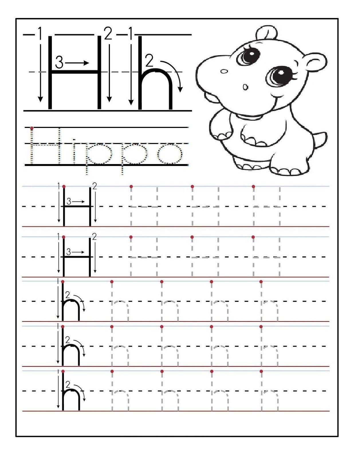 Letter H Tracing Worksheets Preschool The Best Worksheets Image