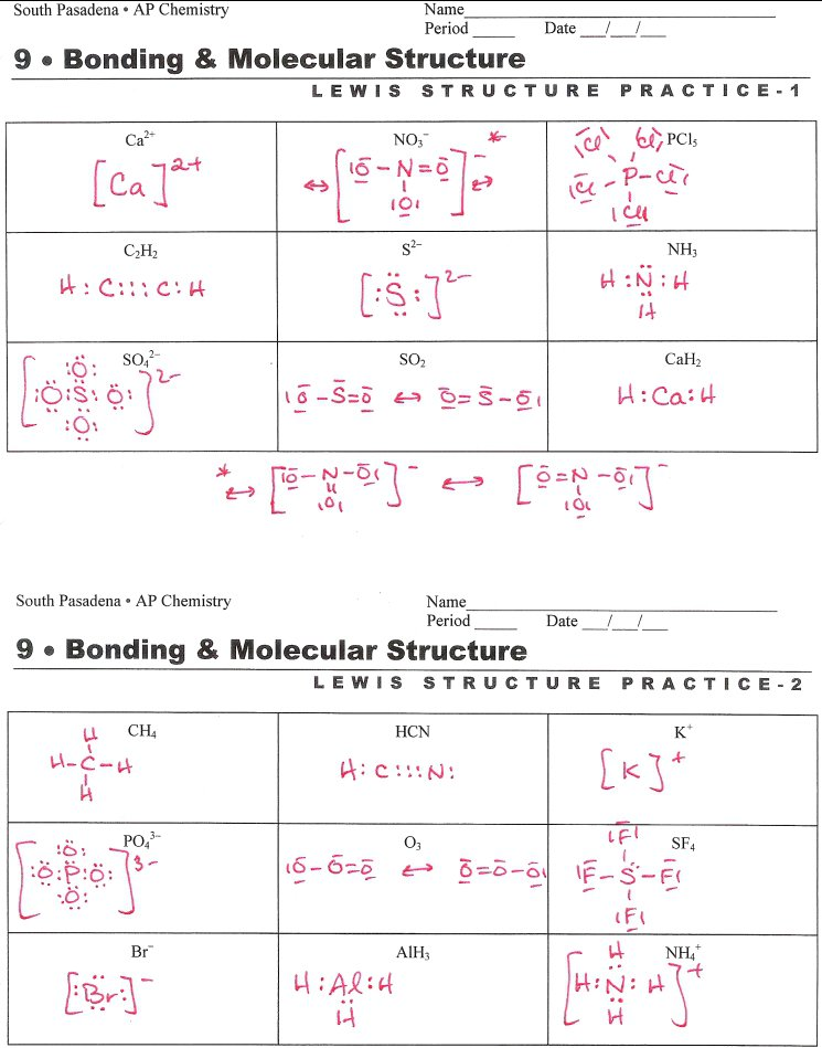 Lewis Structure Worksheet With Answers Drawing Lewis Structures