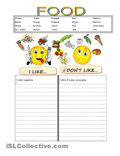 Likes And Dislikes Worksheet For Kids Coming Into The Home