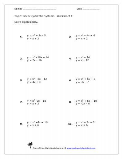 Linear Quadratic Systems Five Pack Math Worksheets Land, Systems