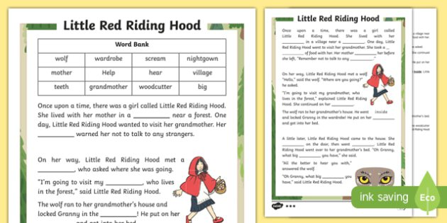 Little Red Riding Hood Traditional Tale Cloze Procedure