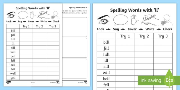 Ll' Spelling List Activity Sheets