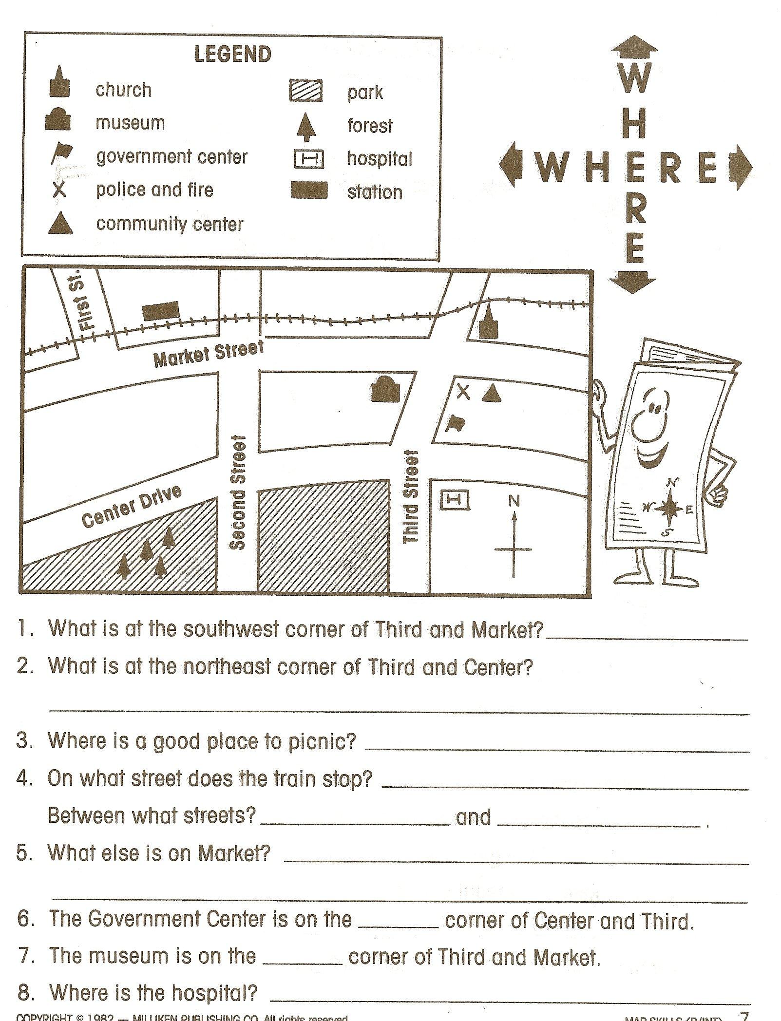 Map Skills Worksheets 5th Grade 92575