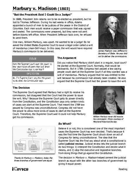 Marbury V Madison 1803 6th 12th Grade Worksheet Lesson Planet
